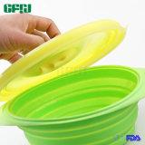 Dekking van het Voedsel van het Deksel van de Pot van het Silicone van de Fabriek van Cookware van het silicone de Vouwbare