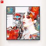 Peinture à l'huile tonale rouge de femme de mode