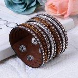 Formrhinestone-multi Schicht-Armband-Leder-Armband-Schmucksachen