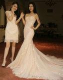 Шнурок Sleeves платье венчания Шампань Mermaid Bridal с украшением цветка