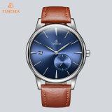 La courroie en cuir de marque de caisse d'acier inoxydable de mode observe la montre-bracelet automatique 72737 de Mens