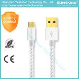 Silberne Farbe schnelles aufladendes Mikro-USB-Daten-Kabel für Samsung Sony HTC