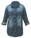 Рубашка 100% втулки джинсовой ткани хлопка повелительниц длинняя Wh1007