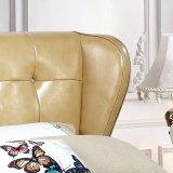 Gelbes Farben-Leder-weiche Bett-Ausgangshotel-Möbel-Wohnzimmer-Schlafzimmer-Set-moderne Möbel, Fb3071