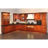 壁ベースキャビネットが付いている贅沢によって曲げられる純木のL字型食器棚