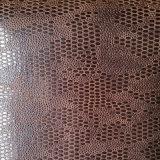 Le cuir ovale gravé en relief d'unité centrale de Microfiber de suède pour des chaussures met en sac (HS-M1701)