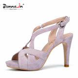 Absatz-Plattform-Frauen-Sandelholz-Schuhe der Dame-Casual Suede Leather