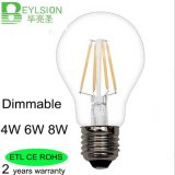 Bulbo E27 4W 6W 8W del filamento de Dimmable A60 LED