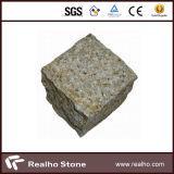 pietra per lastricati del granito giallo rustico 4X4X4/pietra del Cobblestone/lastricatore/ciottolo/cubico/cubo per il passaggio pedonale del giardino, via, strada privata