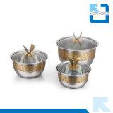 3 части комплекта плиты супа шара нержавеющей стали золотистого смешивая