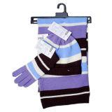 しまのある編む帽子、手袋およびスカーフ(JRK124)