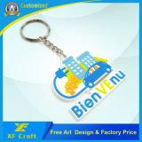 Preiswerter kundenspezifischer weicher Gummischlüsselplastikring mit irgendeinem Firmenzeichen-Entwurf (XF-KC-P37)