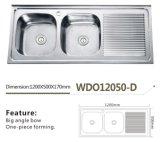 Doppelte Filterglocke mit Abfluss-Vorstand, Einteiler, der Edelstahl der Wannen-Wdo12050-D bildet