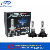 차 헤드 빛 6000k를 위한 LED 전구 50W 6000lm Philips X3 H7 LED 헤드라이트 전구