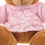 Os ursos do delicado do luxuoso do urso da peluche de Brown desgastam o t-shirt cor-de-rosa