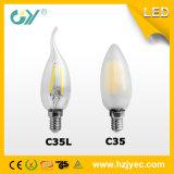 세륨 RoHS E14를 가진 6000k C35 LED 필라멘트 6W LED 초 점화