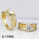De Juwelen CZ van het messing bellen de Gele Gouden Ringen van Dames