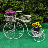 Antuqieの2つの鍋が付いている白い自転車プランター立場