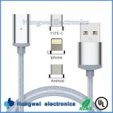 3 in 1sync Charging Data Magnetic USB Cable met LED Light voor Type C Android en voor iPhone