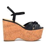 (Donna-binnen) Litchi Pattern Cork van de Vrouwen van het Leer van de koe Hoog Platform Sandals