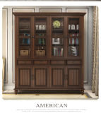 ヨーロッパ式の家具の固体チークの木製の本箱(GSP18-001)