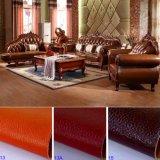 木製のソファーフレームおよび側面表(D929F)が付いている革ソファー