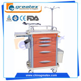 ABS病院のカートの医学的な緊急事態のトロリー中国装置の移動式高品質の麻酔の看護のキャビネットの家具