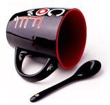 Taza de café de cerámica caliente de la promoción de venta 12oz con la maneta del orificio