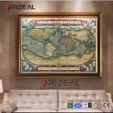 지도의 Ozdecor-13 유화, 고품질 순수한 손으로 그리는 벽 장식 현대 추상적인 색칠, 세계 지도 주제 H