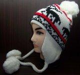 Sombrero caliente hecho punto telar jacquar de la gorrita tejida del estilo de Earflap con el interior y las bolas (1-2264/65/66/68/69) del paño grueso y suave