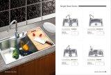 Une seule pièce de la cuvette Ws6042 de bassin de cuisine d'acier inoxydable grand