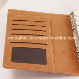Ring-Mappen-Leder-Notizbuch-kundenspezifischer Zapfen mit Karten-Kasten
