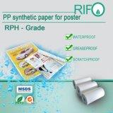 Papel sintético impermeável resistente a lágrimas para cartaz Placard Certificado de MSDS