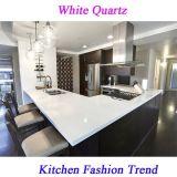 Bancada branca pré-fabricada da cozinha de quartzo para EUA