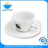 """225ml/5.5 """"受皿が付いている白い磁器のコーヒーカップ"""