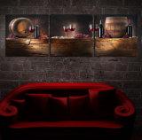 L'arte moderna della parete delle 3 parti ha stampato la maschera di arte incorniciata decorazione della stanza della pittura del vino rosso della pittura verniciata sulla decorazione Mc-247 della casa della tela di canapa