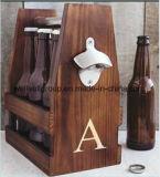 Transporteur en bois de bouteille à bière avec l'ouvreur (CPGC-7017X)