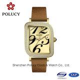 Senhora de aço nova relógio de Genebra da menina de 2016 relógios de pulso da forma do relógio de quartzo da liga do Rhinestone de Genebra