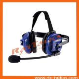 Atrás do headset pesado com cabo XLR para rádio bidirecional
