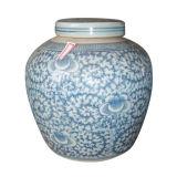Vaso antigo branco e azul (LW401)