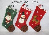 Meia do Natal da rena do boneco de neve de Santa com punhos do Pompom