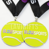 Medalha antiga feita sob encomenda do esporte do tênis do revestimento com o ouro chapeado
