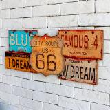 Затрапезный шикарный деревянный знак древесины оптовой продажи фабрики декора дома металлической пластинкы