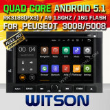 Carro DVD GPS do Android 5.1 de Witson para Peugeot 3008/5008 com sustentação do Internet DVR da ROM WiFi 3G do chipset 1080P 16g (A5738)