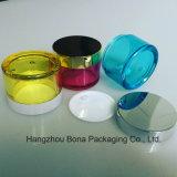 Frasco colorido de PETG com o frasco de creme do plástico do frasco das tampas de bambu