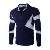Hommes rayés de chemise de chemise de polo d'automne longs (A412)