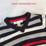 Casacos de lã 100% da camisola da malhas da V-Garganta do projeto da forma do algodão para miúdos