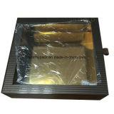 Rectángulo de regalo revestido de papel de la ventana del oro para el empaquetado de la joyería y del reloj
