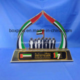 Trophée de jour national des EAU en métal avec la parenthèse d'or