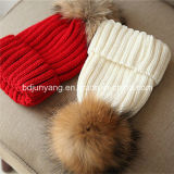 Реальный шлем шерстей женщин зимы шерсти POM Poms Racoon обыкновенный толком связанный